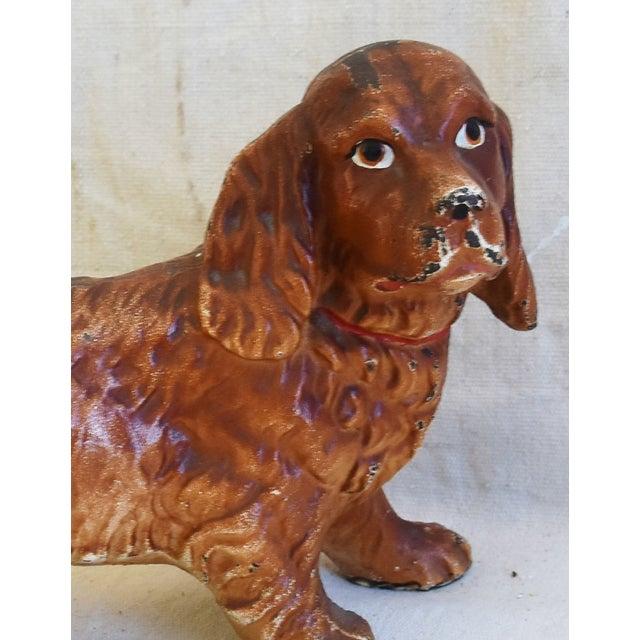 Charming Vintage Cast Iron Dog Figure Doorstop For Sale - Image 10 of 12