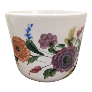 Italian Hand Painted Floral Planter/Cachepot For Sale