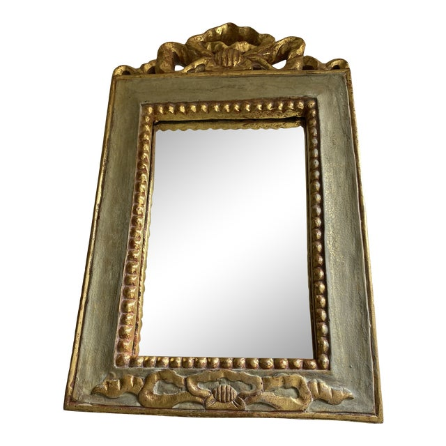 Vintage Italian Style Painted and Gilt Wood Mirror For Sale