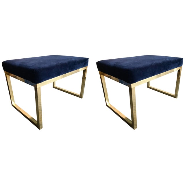 Contemporary Pair of Brass Poufs Stools, Italy For Sale - Image 11 of 11