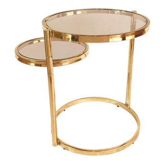 Hollywood Regency Brass and Smoked Glass Swivel Side Table by Dia, 1970's For Sale