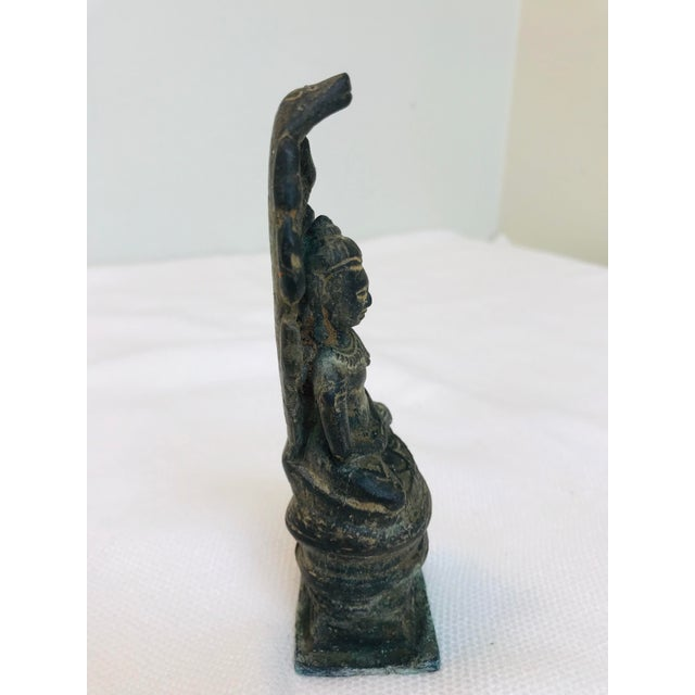 Antique Khmer Buddha Naga Hand Crafted Cast Bronze Art Sculpture For Sale - Image 4 of 7