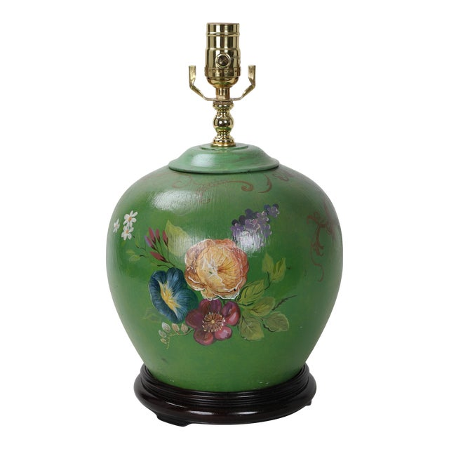 20th Century Art Deco Hand Painted Porcelain Table Lamp For Sale