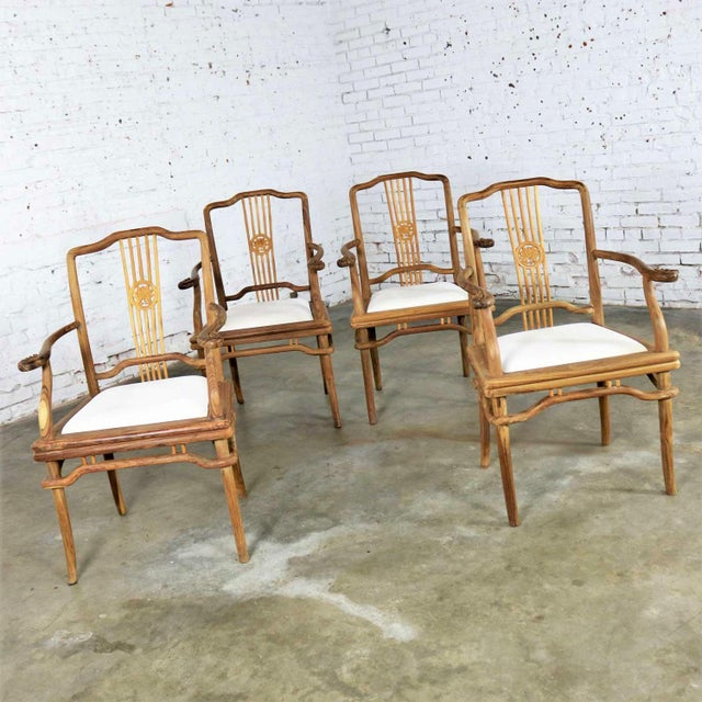 Set of Four Natural Teak Indonesian Ming Style Dining Armed Chairs With Upholstered Seats For Sale - Image 6 of 13