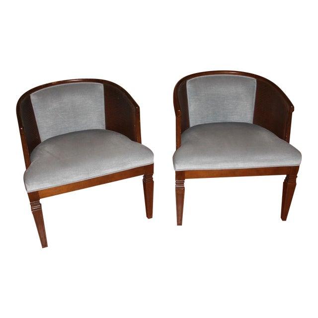 Morganton Barrel Cane Chairs - A Pair For Sale