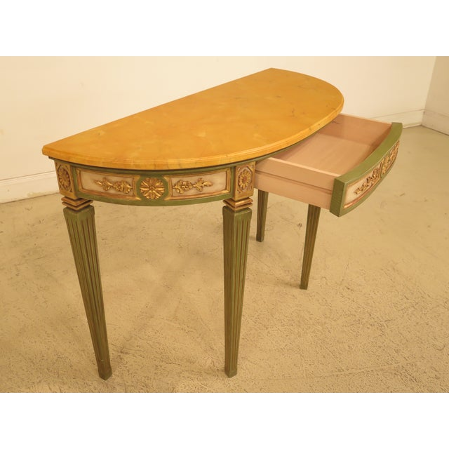 Yellow French Louis XVI Style Paint Decorated Console Table For Sale - Image 8 of 11