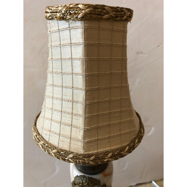 Truly Elegant Antique Carrara Marble and Bronze Pair of Small Table Lamps For Sale In Philadelphia - Image 6 of 12