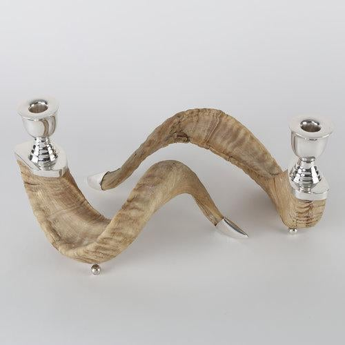 Silver PAIR OF RAM'S HORN AND SILVER CANDLE HOLDERS For Sale - Image 8 of 10