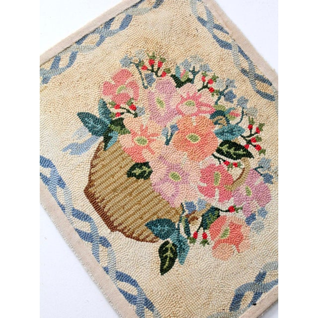 Textile Vintage Hooked Rug For Sale - Image 7 of 8