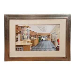 French Gouache of a Hair Salon, 1950s For Sale