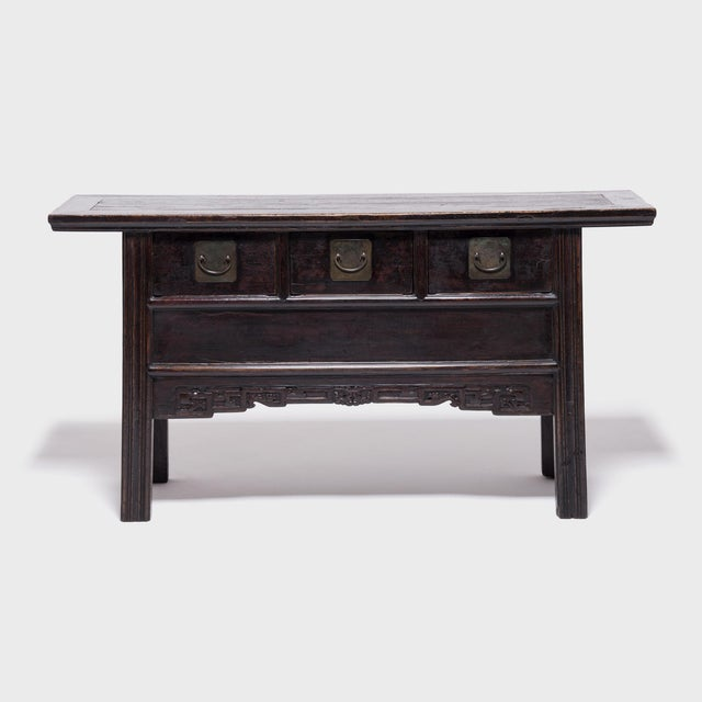 Chinese Three Drawer Table With Carved Apron For Sale - Image 10 of 10