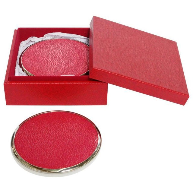 2010s Six-Piece Set of Red Shagreen Coasters by Fabio Ltd For Sale - Image 5 of 5
