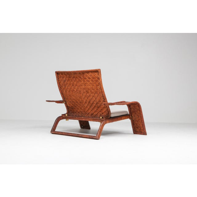 Brown 1970s Postmodern Lounge Chair in Woven Leather by Marzio Cecchi For Sale - Image 8 of 10