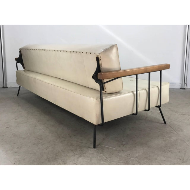 Metal Classic Modernist Iron and Wood Sofa/Daybed in the Manner of Weinberg-Salterini For Sale - Image 7 of 10