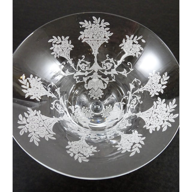 1960s French Style Etched Champagne Glasses - Set of 4 For Sale - Image 4 of 9