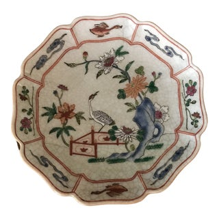 Chinoiserie Hand Painted Scalloped Floral Crane Plate For Sale