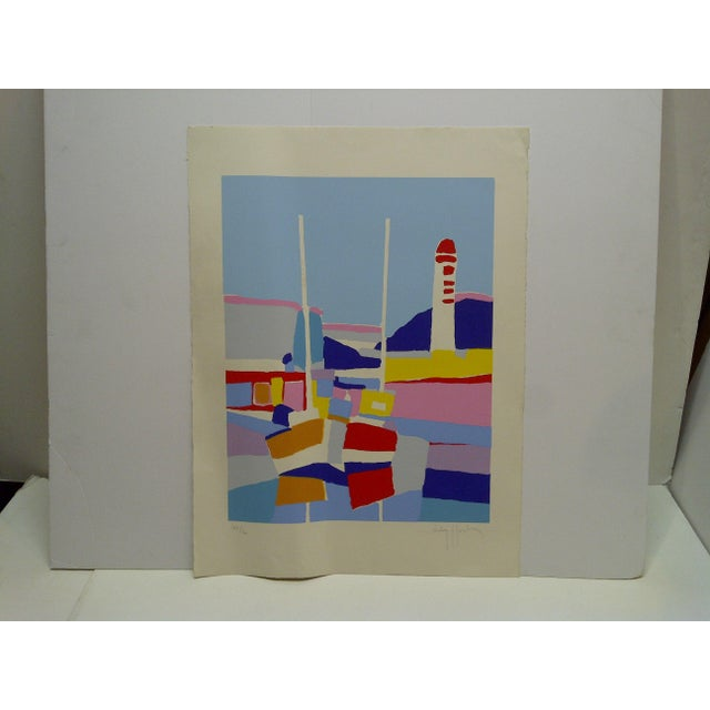 "Blue Colorful Abstract French Print ""De Phare Rouge"" by Hasch For Sale - Image 8 of 8"