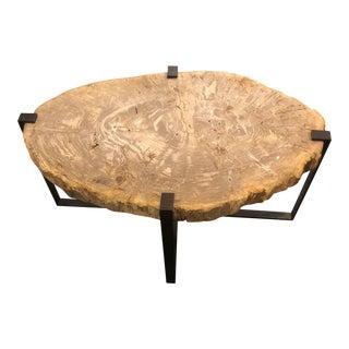 Organic Modern Custom Made Metal Base Coffee Table For Sale