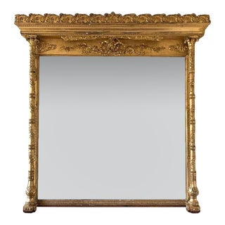American Gilded Age Pedimented Giltwood Mantel Mirror For Sale
