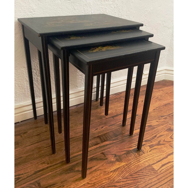Exquisite Japanese black lacquer set of three nesting tables from private collection of WWII era art, furniture and...