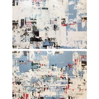 Ned Martin, East River (Horizontal Diptych) Painting, 2018 For Sale