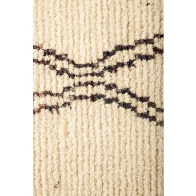 Primitive Ivory Moroccan Tribal Runner Rug For Sale - Image 3 of 4