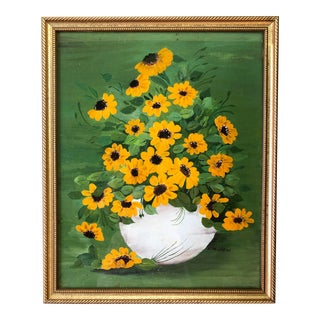 Vintage Mid-Century Floral Still Life Framed Painting For Sale