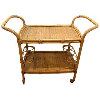 Boho Chic Rattan Bar Cart on Casters For Sale