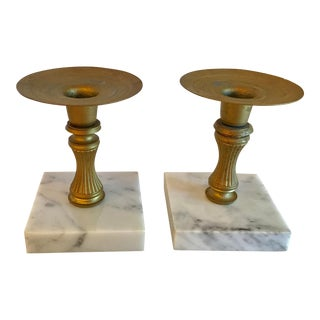 20th Century Tradtitional Marble Base Candlesticks - a Pair For Sale
