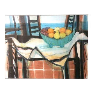 Interior With Still Life Modern Pastel on Paper For Sale