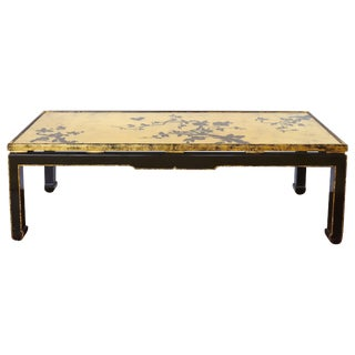 Japanese Gold Leaf Cherry Blossom Coffee Table With Inset Glass For Sale