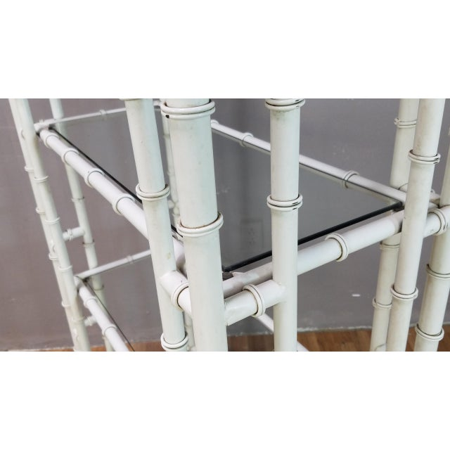 1950s Hollywood Regency White Metal Pagoda Faux Bamboo Etagere For Sale - Image 11 of 13