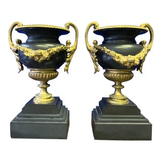 19th-C. French Bronze and Marble Urns For Sale