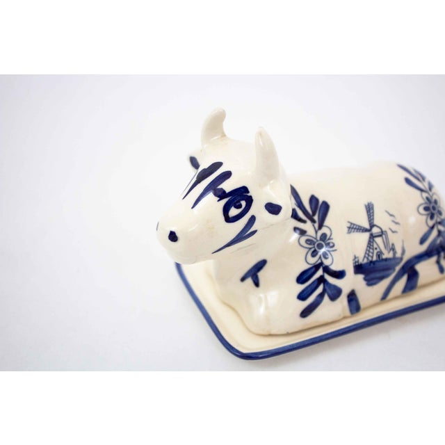 Mid 20th Century Mid 20th Century Hand Painted Blue & White Cow Butter Dish For Sale - Image 5 of 7