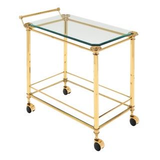 French Brass Art Deco Period Bar Cart For Sale