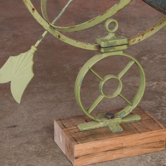 Art Deco Early 21st Century Antique Style Danish Green Garden Sun Clock / Armillary For Sale - Image 3 of 6