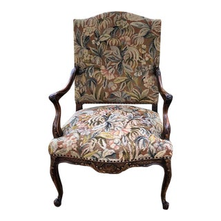 19th Century French Louis XV Tapestry Armchair For Sale