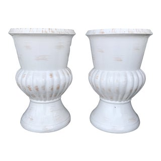 Vintage Mid Century Neoclassic Planters- A Pair For Sale