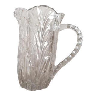 Vintage 1960s Lead Crystal Water Pitcher For Sale