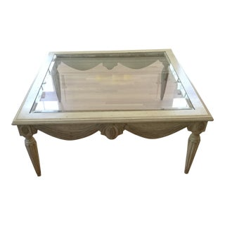 1990s French Country Glass and Distressed Wood Coffee Table For Sale