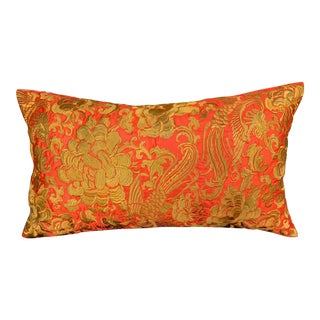 Hollywood Regency Red & Gold Silk Embroidered Chinoiserie Boudoir Lumbar Pillow For Sale