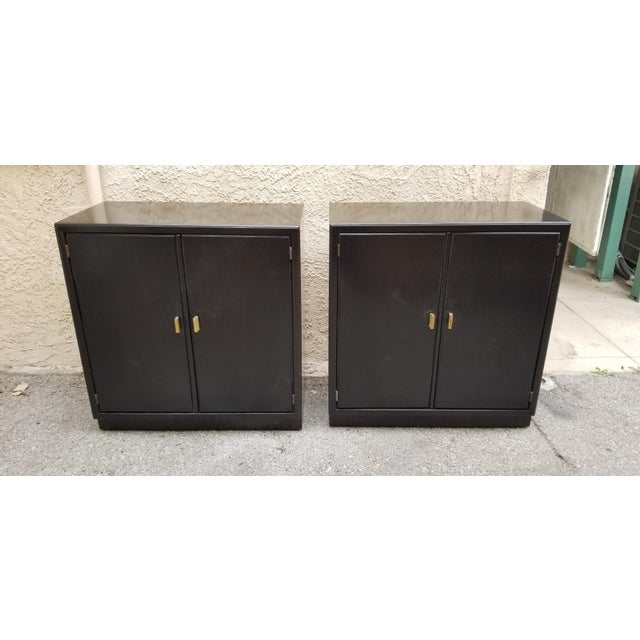 1970s Mid-Century Modern Low Black Cabinets - a Pair For Sale - Image 4 of 4