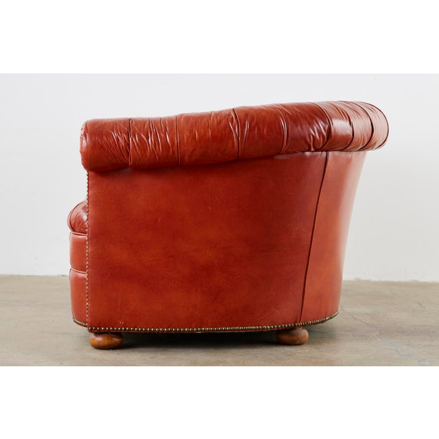 Midcentury English Chesterfield Style Kidney Bean Leather Settee For Sale - Image 11 of 13