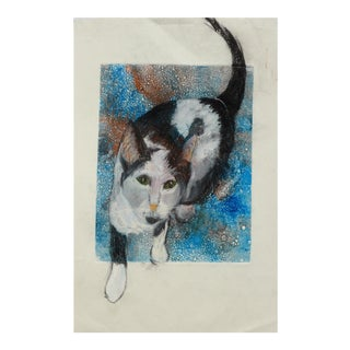 Charcoal and Pastel Kitty Drawing For Sale