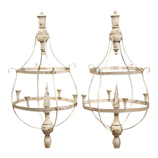 French Wood & Iron Painted Girandoles Candleholders - A Pair