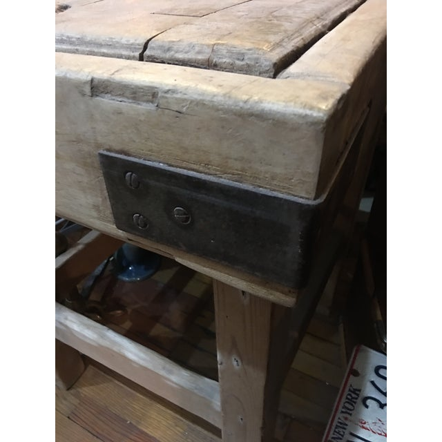 1920s Old English Wood Butcher Block on Stand For Sale - Image 5 of 6