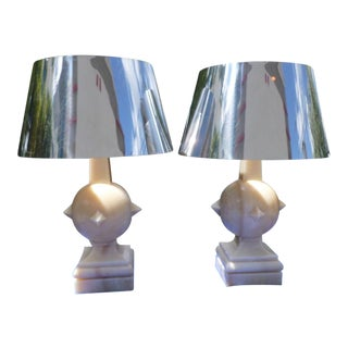 1970s Vintage Arthur Pani Style Onyx Lamps & Chrome Shades - A Pair For Sale