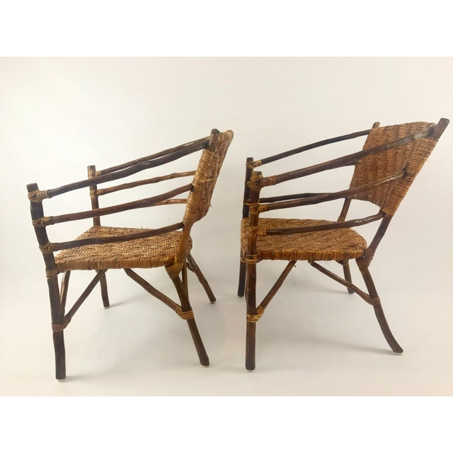 Boho Chic Vintage Barrel Backed Hickory Hoop Arm Chairs - A Pair For Sale - Image 3 of 11