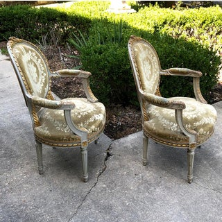 19th Century French Louis XVI Painted Armchairs- A Pair Preview