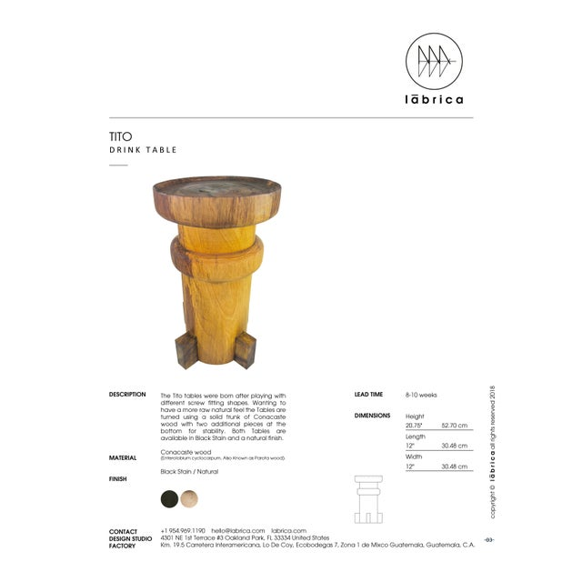 LABRICA Contemporary Tito Drink Table, Natural Solid Burl by Labrica For Sale - Image 4 of 5
